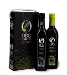 huile d'olive vierge extra Oro Bailen, reserva familiar, Estuche